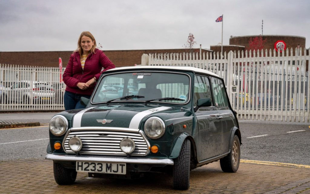 Hagerty_Vicky_Parrott_drives_Tommy_a_Rover_Special_Projects_Mini_Cooper_pic_by_Andrew_Crowley