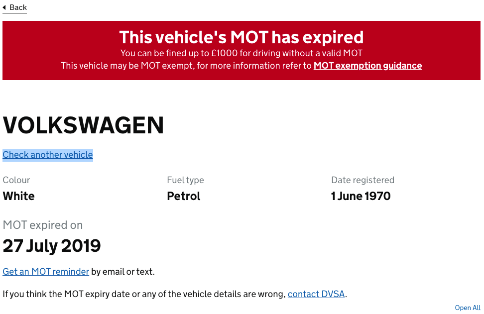 Historic MOT: Red Can Mean Go