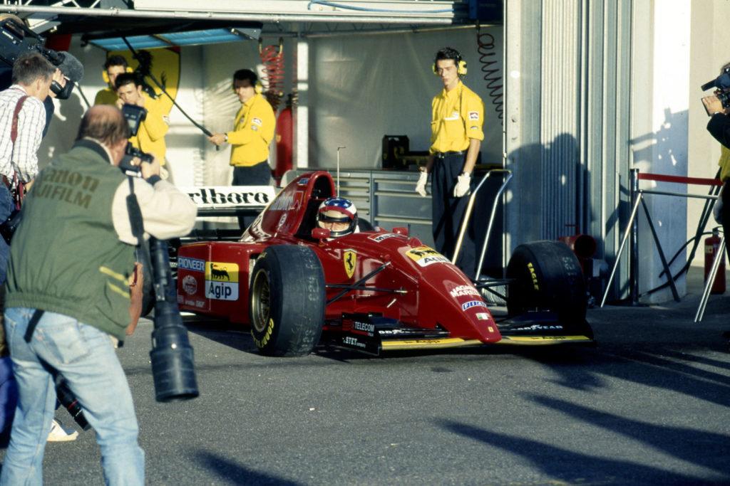 Michael Schumacher during his first ever test of a Ferrari F1 car, the 1995 Ferrari 412 T2