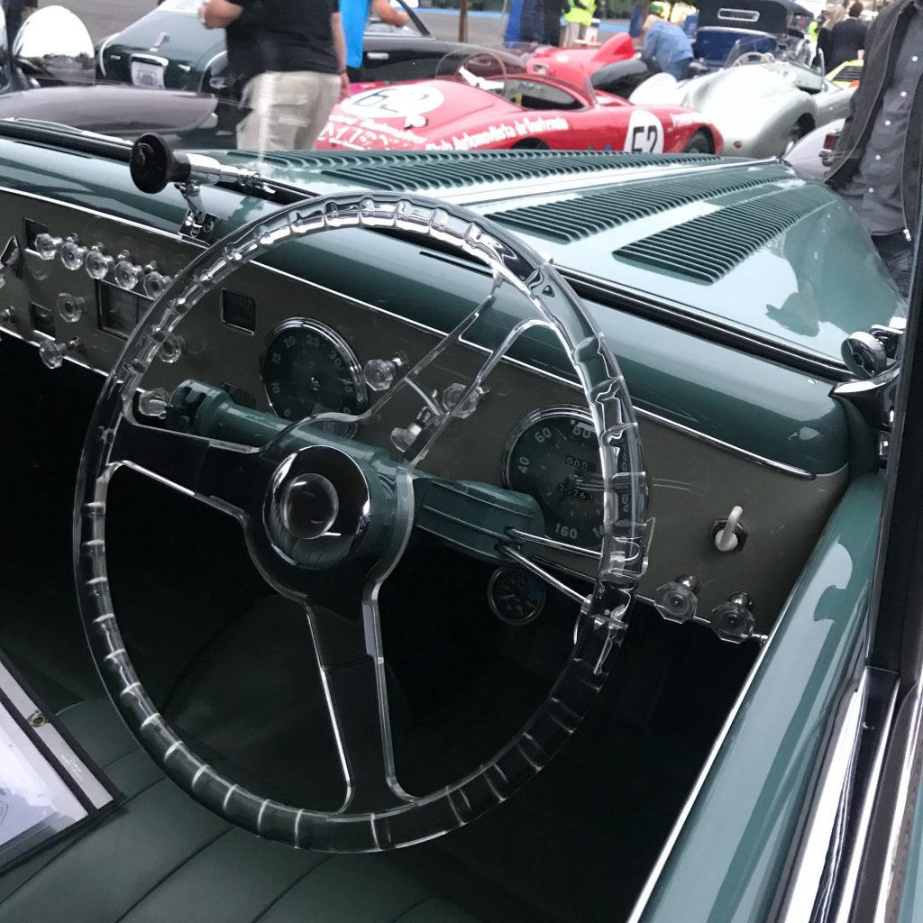 Steering wheel of the 1949 Delahaye 135M Cabriolet by Guilloré