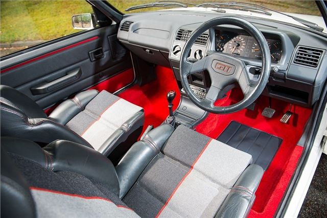 Analysis: Hot hatches vs Ferrari Testarossa – Hagerty Price Guide_2020_Peugeot 205 GTI 1.6 interior