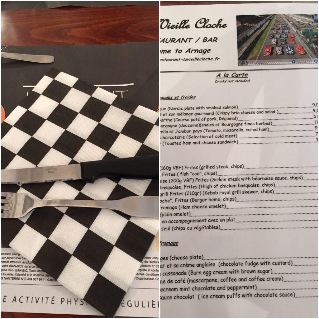 Vielle Cloche restaurant menu during Le Mans race weekend