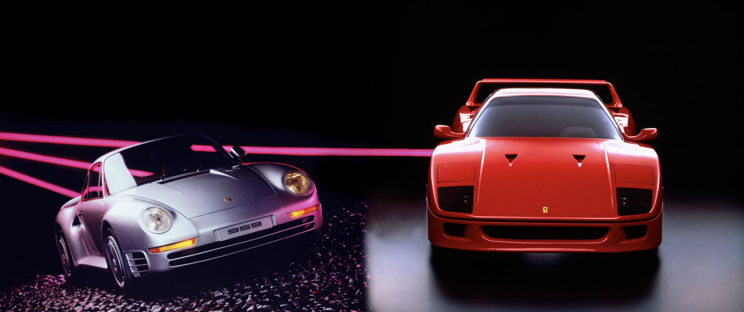 'The most exciting supercar in the world versus the greatest.' Head-to-head in the Ferrari F40 and Porsche 959
