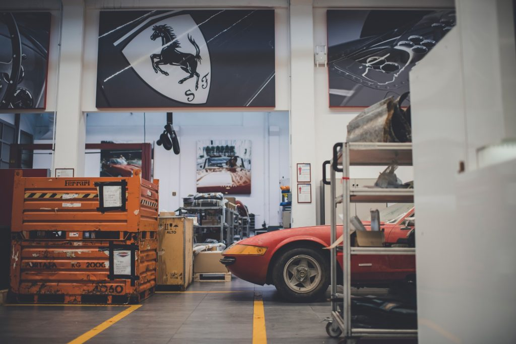 A Daytona awaits restoration at the Ferrari Classiche workshop_Hagerty