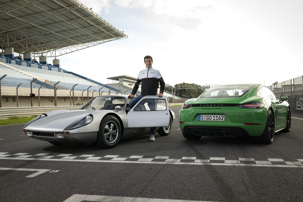 Mark Weber with the Porsche 904 Carrera GTS and new Cayman 718 GTS_Hagerty