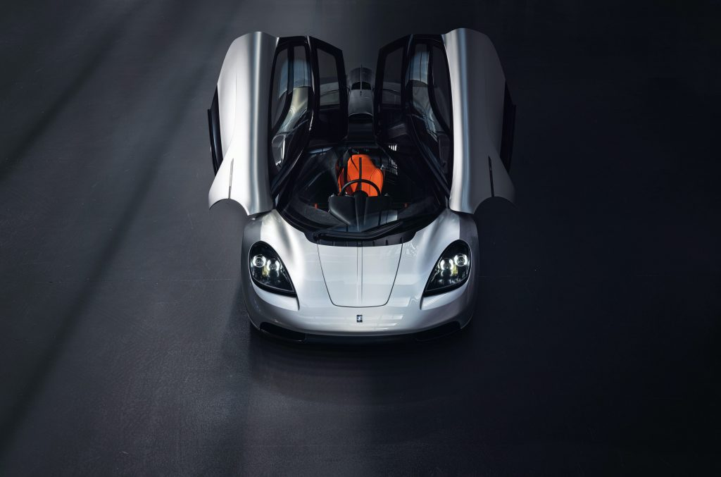 The scissor doors raised on the new Gordon Murray Automotive T.50