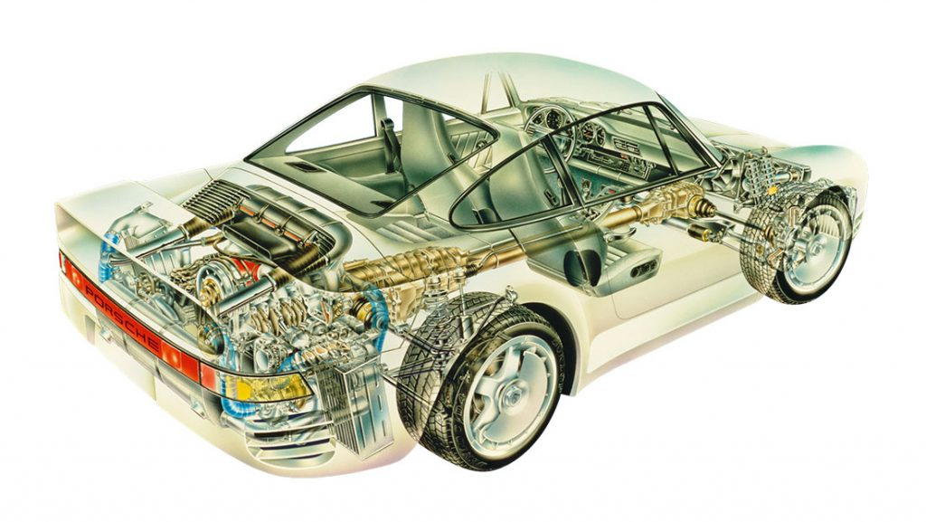 Porsche 959 technical illustration exploded view_Hagerty