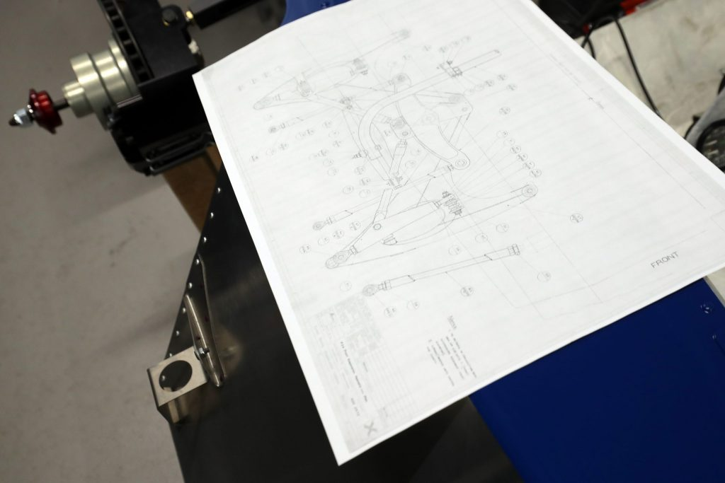 Original technical drawings for the Tyrrell P34 six-wheel F1 car
