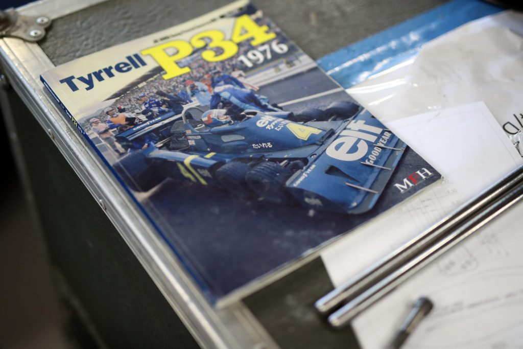 Original literature and technical drawings for the Tyrrell P34 six-wheel F1 car