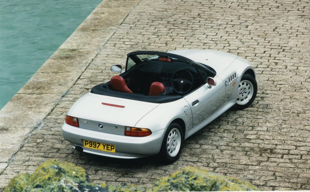 A roofless BMW Z3 1.9 roadster