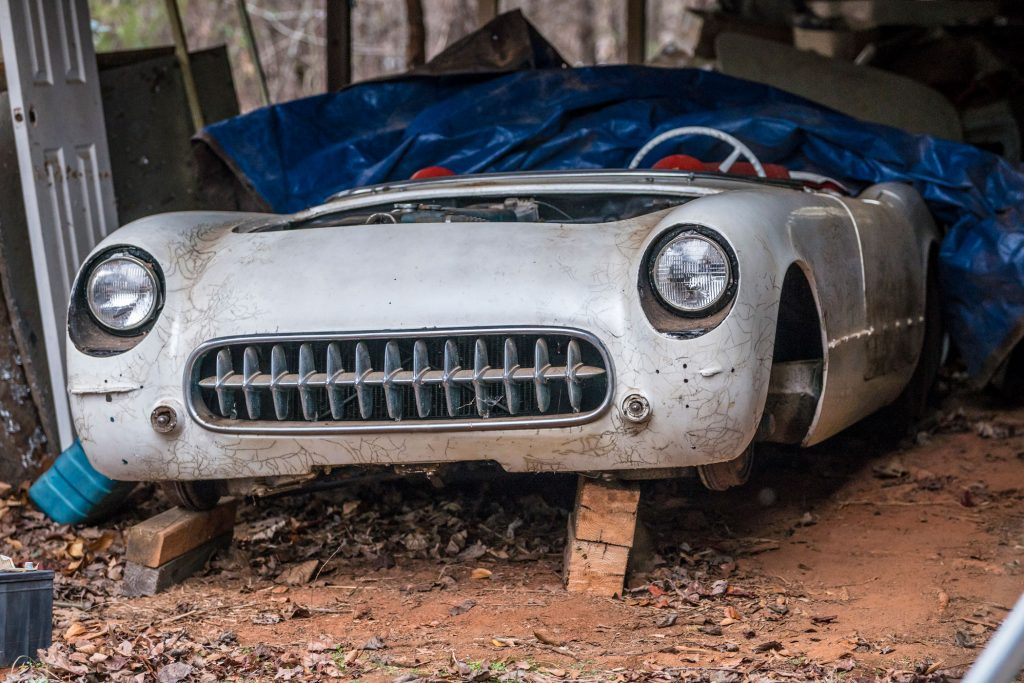 The Vette in the shed