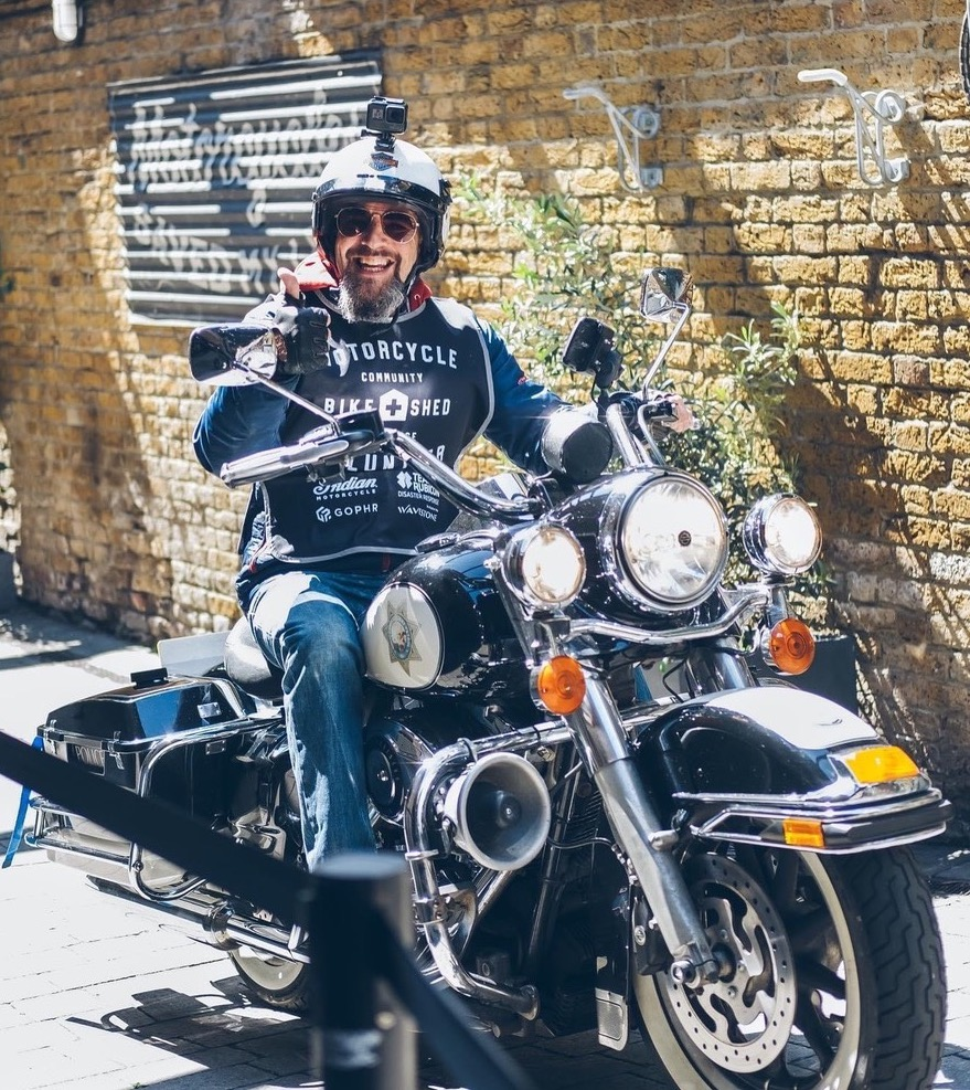 PPE deliveries coming through – thanks to Daniel Shell and his Harley. Photo: Richard Gunn