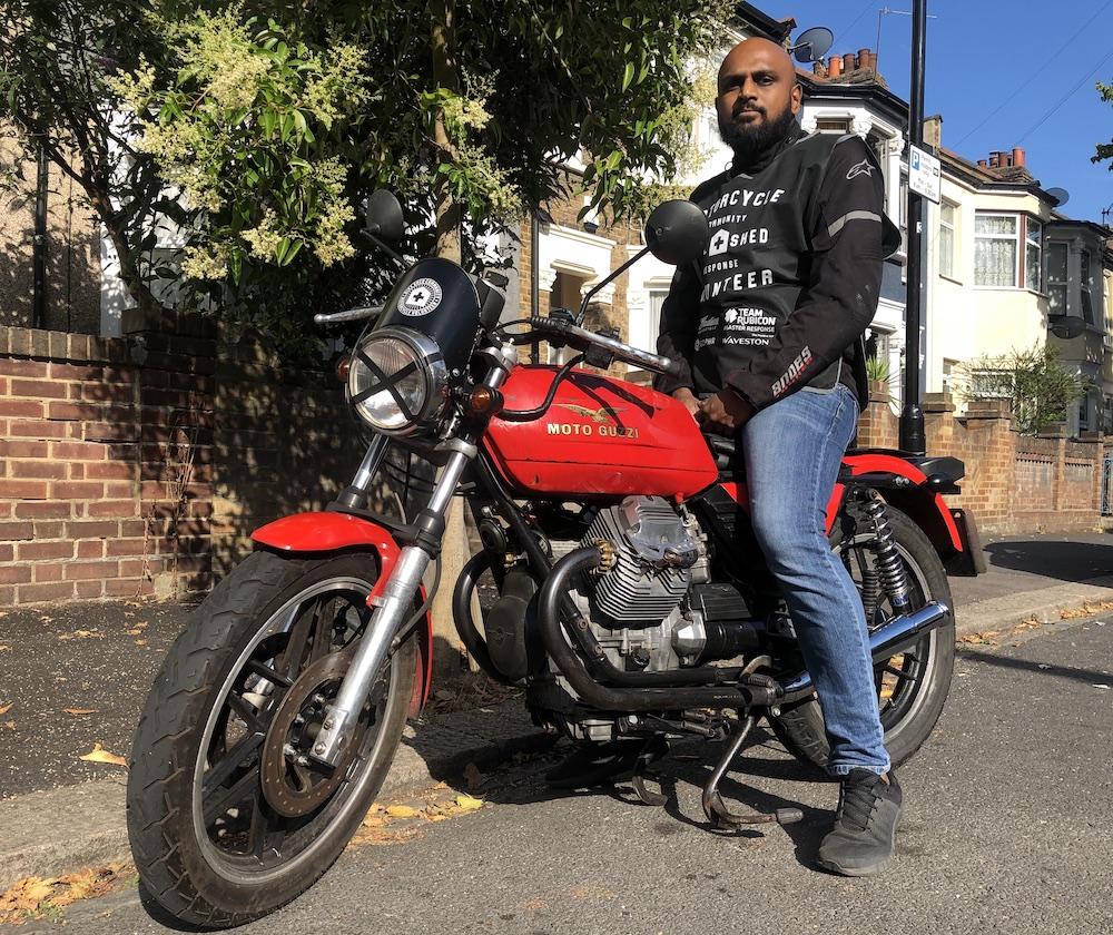 You'll hear Harsha Vardhan approaching on his V-twin Motor Guzzi