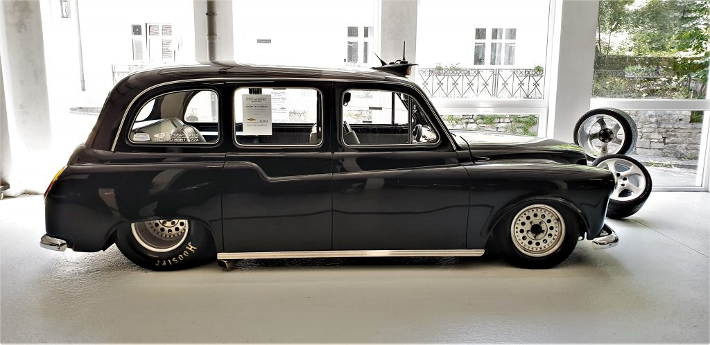 Taxi! This hot rod London cab offers one passenger a ride on the wild side