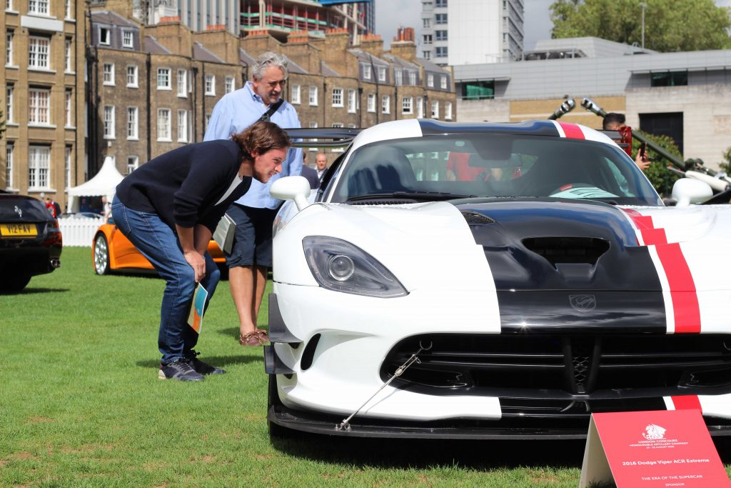 Mitchell Crane and his father, Dean, check out a 2016 Dodge Viper ACR Extreme_London Concours 2020_Hagerty