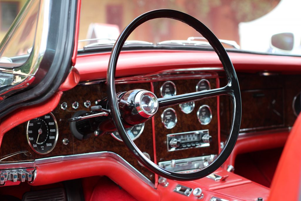 The interior of Tom Reah's 1961 Facel Vega HK500; the dashboard is painted to replicate wood
