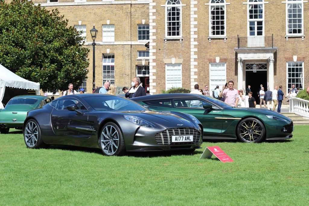 A 2011 Aston Martin One-77, before a 2019 Vanquish Zagato Shooting Brake_London Concours_Hagerty
