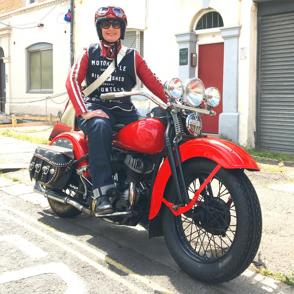 Sarah Bradley, the author, and her vintage 1939 Harley-Davidson