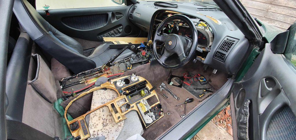 Stripped-bare interior of Lotus Elan M100
