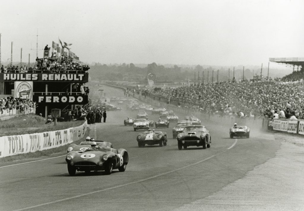 Aston Martin on its way to a win at the 1959 Le Mans race