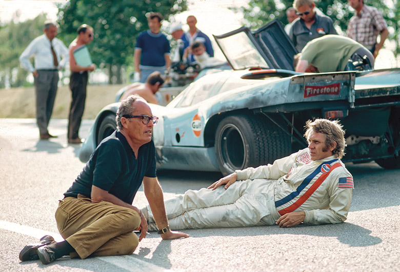 Steve McQueen and John Sturges on the set of Le Mans