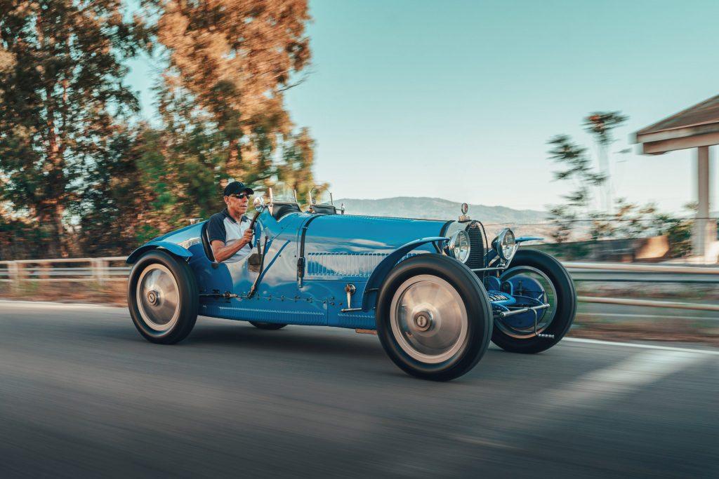 Bugatti Type 35 and the Divo hypercar on historic Targa Florio roads