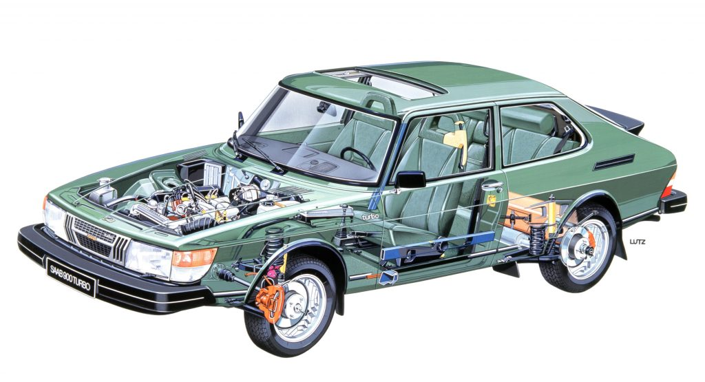 Saab 900 Turbo cutaway illustration_Hagerty