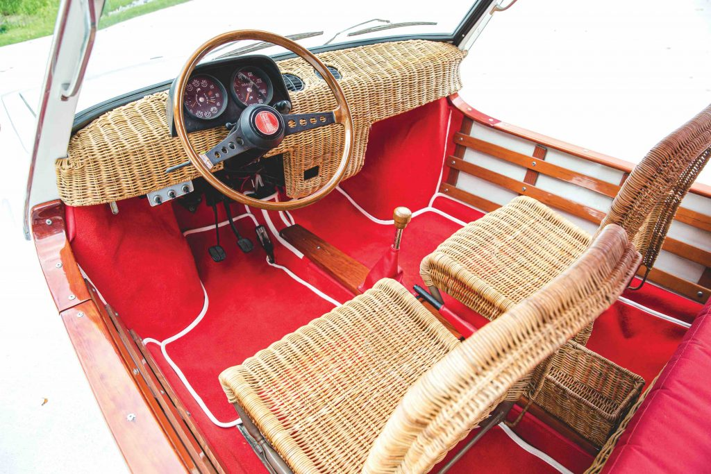 1970 Fiat 850 Spiaggetta by Michelotti interior wicker seats
