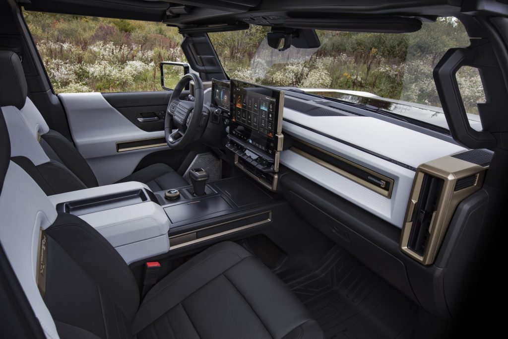 Hummer EV electric SUV interior and touchscreen