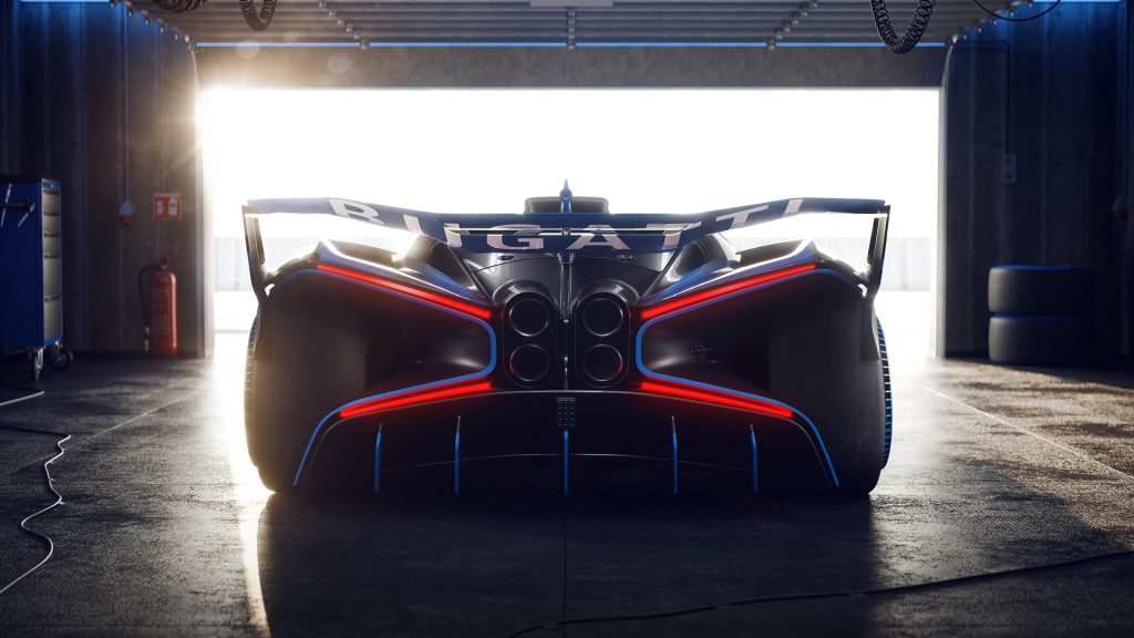Bugatti Bolide rear view with exhausts