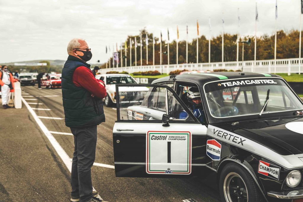 Philip Venables on the starting grid with Triumph Dolomite at Goodwood SpeedWeek