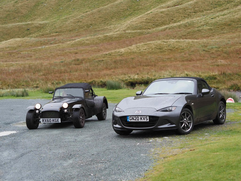 Caterham 7 and Mazda MX-5 on the Honister Pass