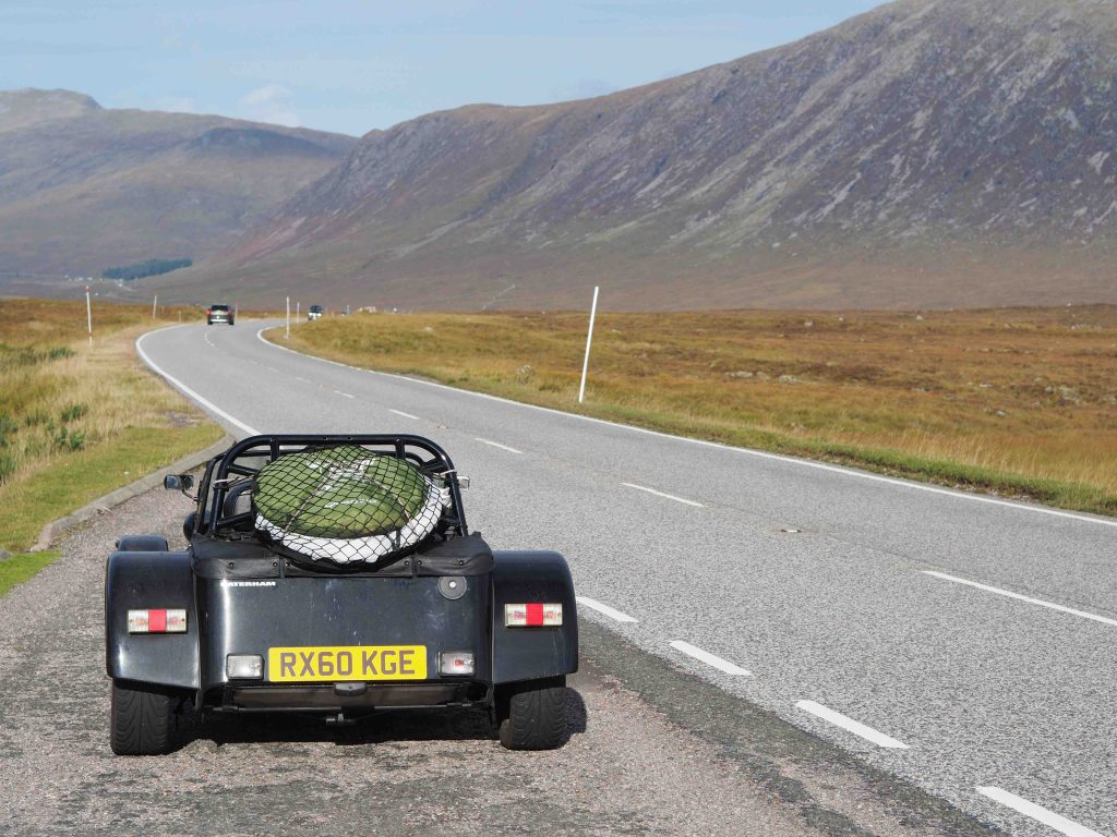 The A82 to Glencoe in a Caterham 7