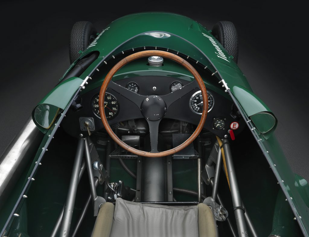 The cockpit of the 1958 Vanwall grand prix continuation car