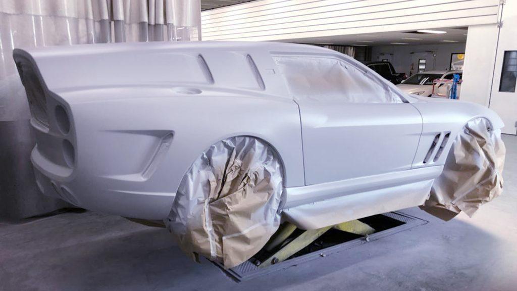 Bare body of the Ferrari Breadvan Hommage awaiting final paint