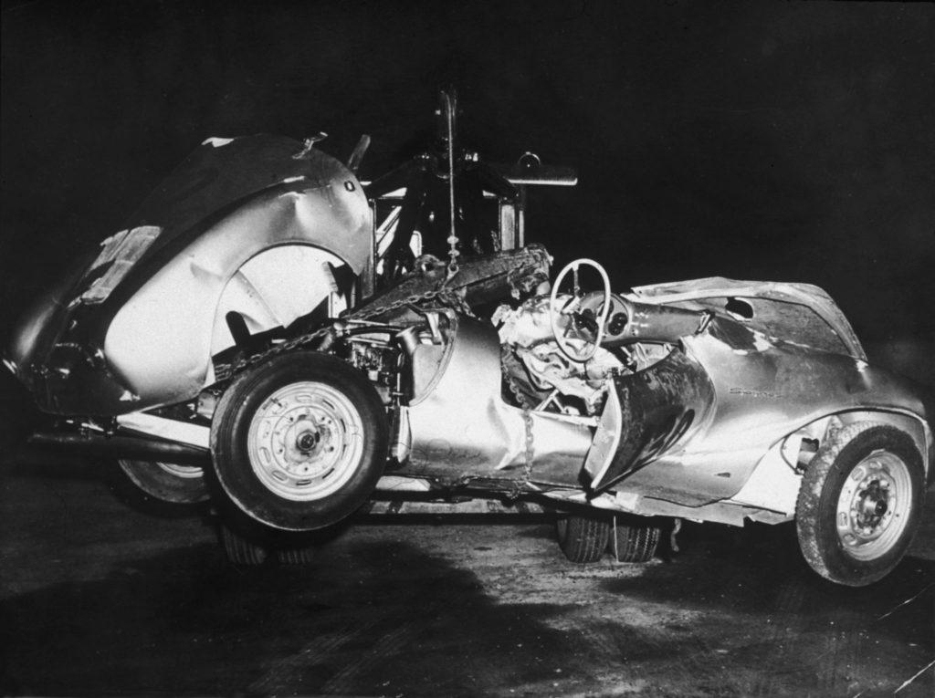 The wreck of James Dean's Porsche 550 Spyder