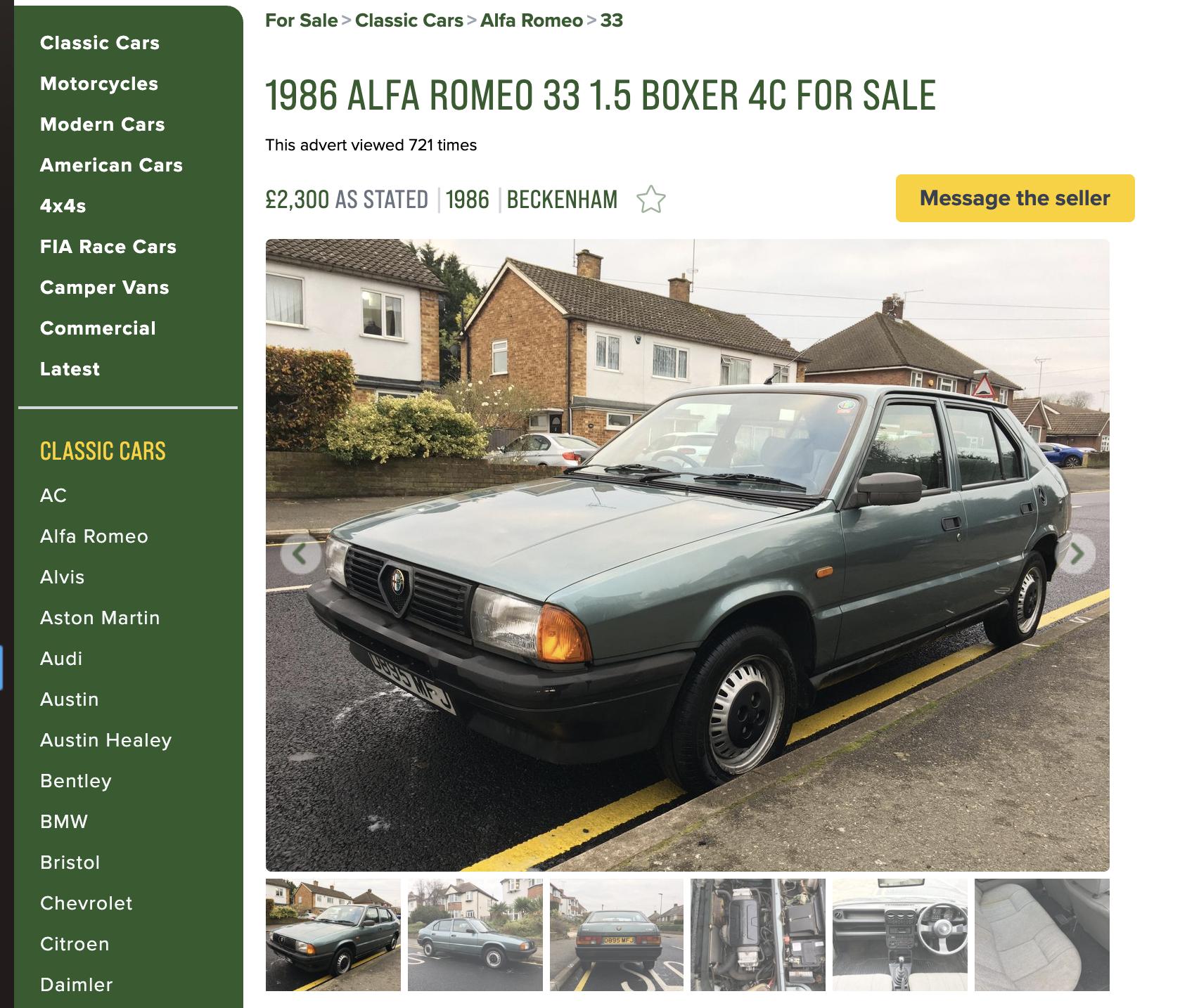 Unexceptional Classifieds: Alfa Romeo 33 1.5 4C