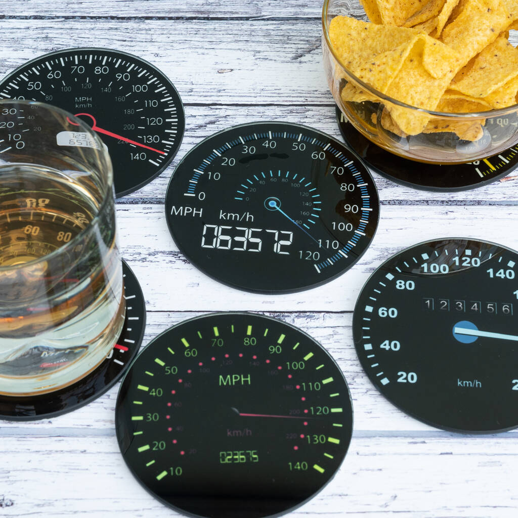 Speedo coasters_2020 Christmas gift ideas for car enthusiasts_Hagerty
