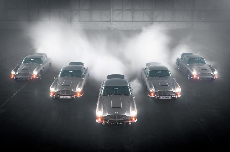 The first five Goldfinger Aston Martins are spied together