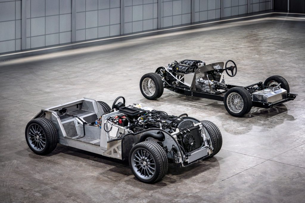 Morgan Plus 4 aluminium chassis next to steel and ash chassis