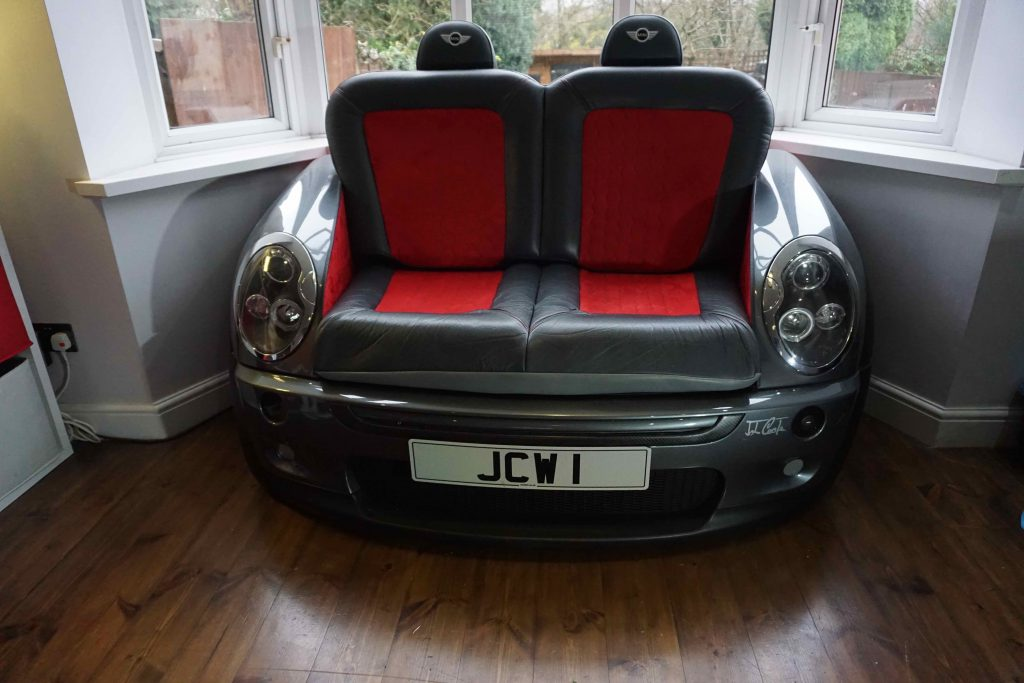 Sofa made from a Mini Cooper bonnet and bumper