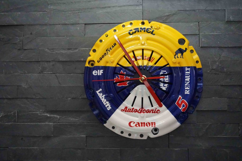 Williams F1-style clock made from car parts