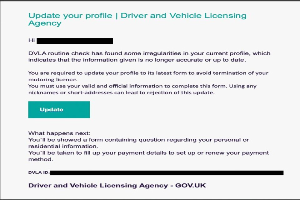 Example of scam email from the DVLA
