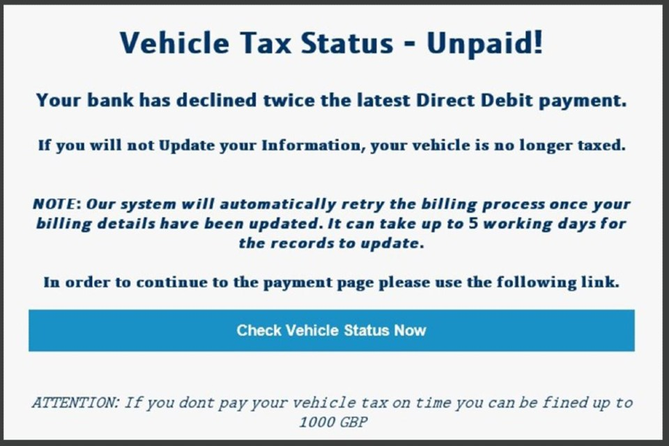 Warning of scam phishing emails and texts for drivers