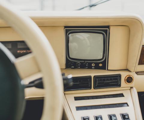 Aston Martin Bulldog interior and TV screen