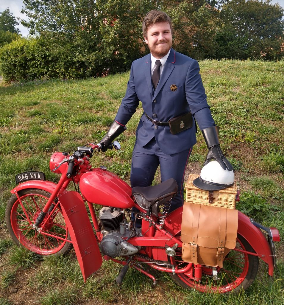 21-year-old William Fothergill and his 1958 ex-GPO BSA Bantam D1