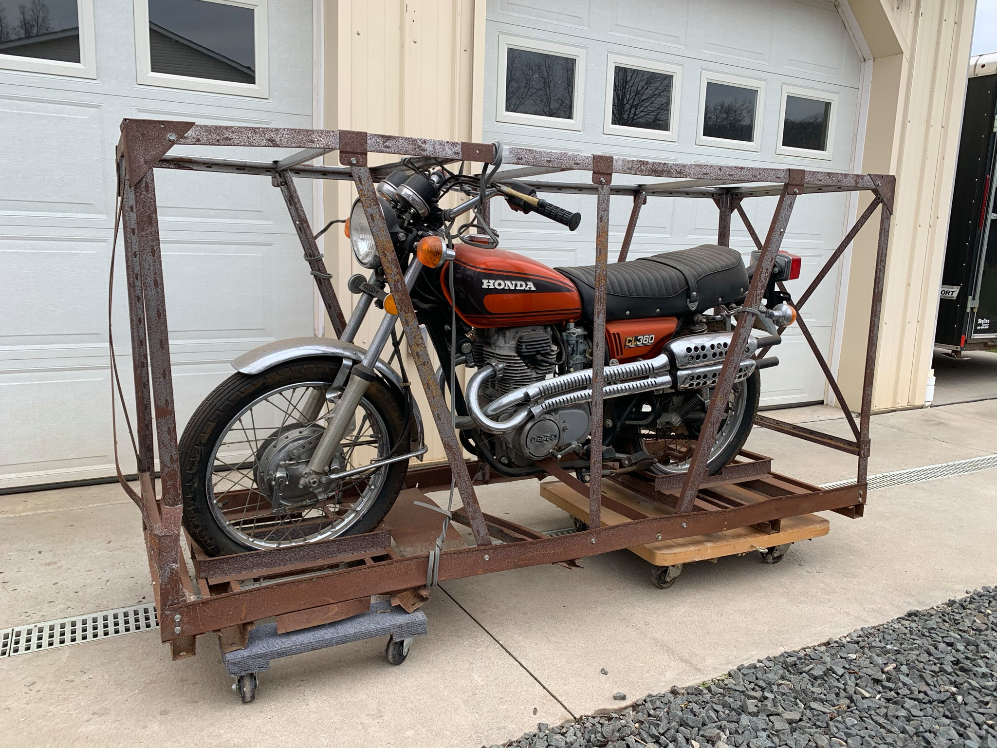 Still in its crate, this Honda CL360 is a 1970s time capsule