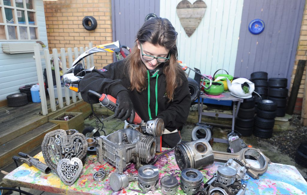 Catherine Potter upcycles kart parts
