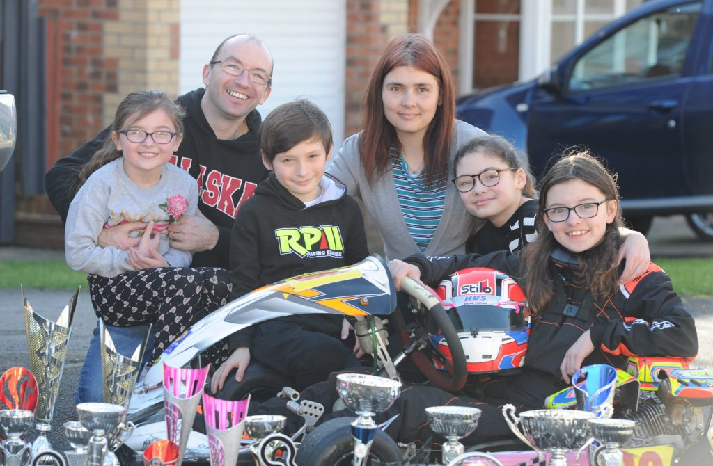 Catherine Potter kart racer and family