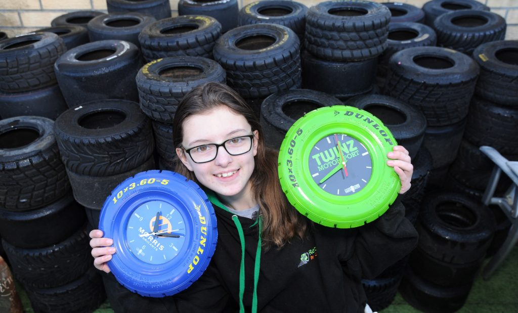 Catherine Potter upcycles kart tyres into clocks